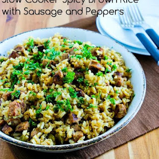 Slow Cooker Spicy Brown Rice with Sausage and Peppers.