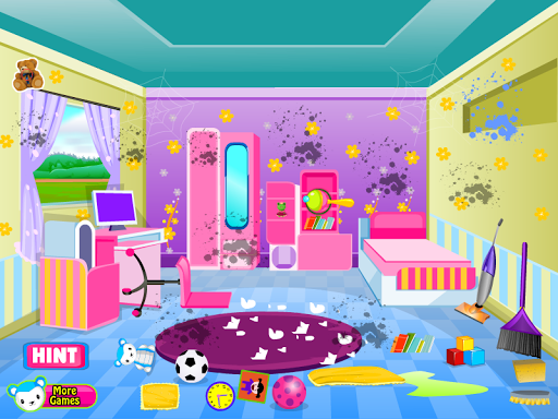 清潔房間遊戲的女孩
