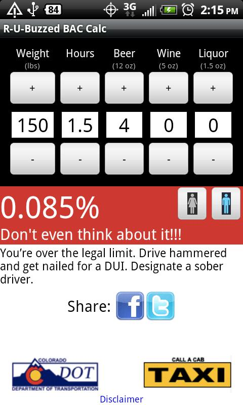 R-U-Buzzed? BAC Calculator- screenshot