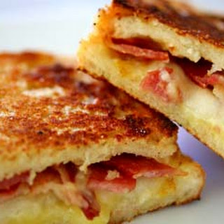 Grilled Cheese Sandwich with Bacon and Pear.