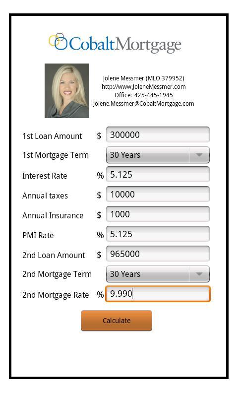 Jolene Messmer's Mortgage Calc - screenshot