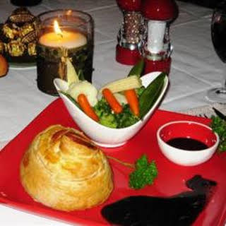 Mini Beef Wellingtons with Red Wine Sauce.