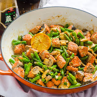 Asian Salmon and Green Beans Stir Fry.