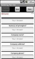 Screenshot of Marketing Plan App