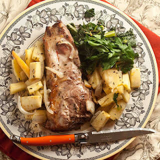 Roasted Pork Chops with Parsnip and Apples.