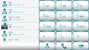 Screenshot of Dialer Frame Aqua White Skin