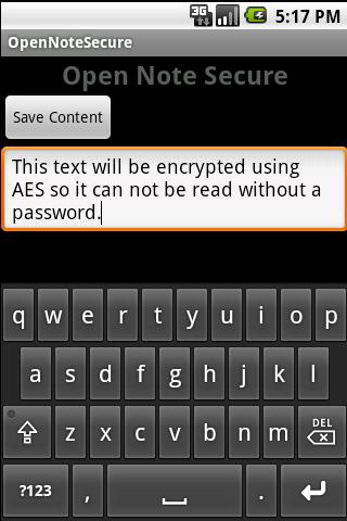OpenNoteSecure- screenshot