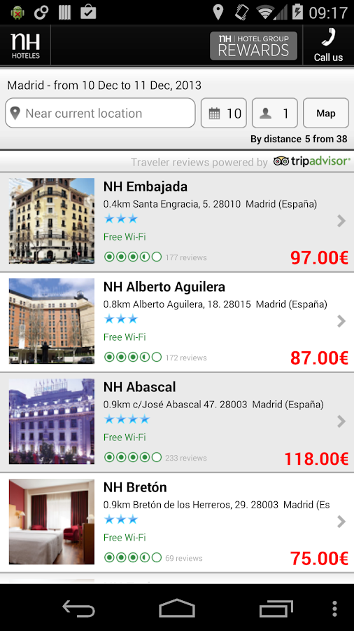 NH Hoteles Reservations - screenshot