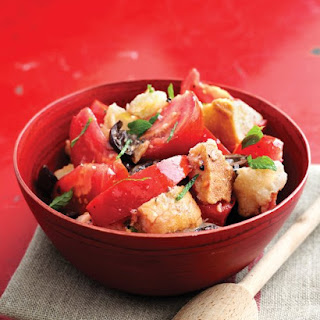Tomato Bread Salad with Olives and Mint Recipe