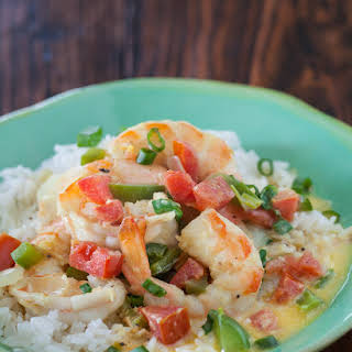 Coconut Curry Shrimp with Coconut Rice.