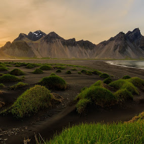 Iceland beach by George Marcu - Landscapes Waterscapes ( 2014, islanda, midnight sun, beach, waterscapes,  )
