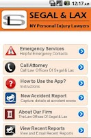 Screenshot of Accident App by Segal & Lax