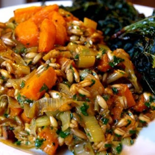 Farro with Red Kuri Squash and Leeks