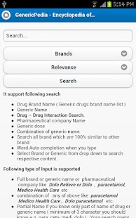 Generic drugs encyclopedia - screenshot thumbnail