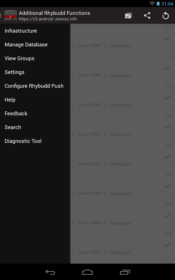 Rhybudd - Zenoss for Android- screenshot