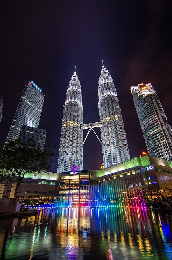 Colors of Petronas KLCC Twin Tower by Chin Fei Ng - Buildings & Architecture Other Exteriors ( nightscape, klcc tower; reflection; lake; colors, , city, night, Urban, City, Lifestyle )
