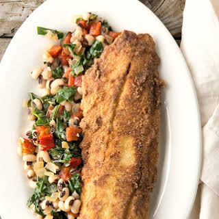 Fried Speckled Trout with Black-eyed Peas.