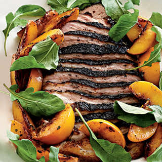 Roasted Pork Belly with Late-Harvest Peaches and Arugula.