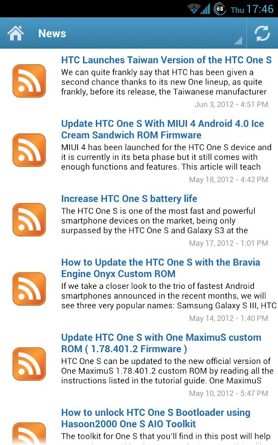 HTC One S News - screenshot