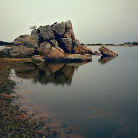 Zen Point by Johnny Gomez - Landscapes Mountains & Hills ( mountains, serenity, zen, lake, stillness, alpine )