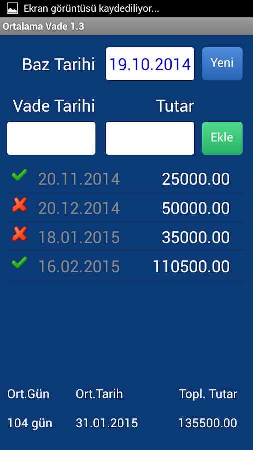 Ortalama Vade - screenshot