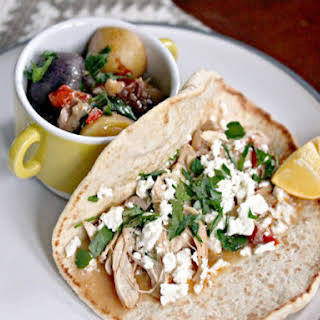 Mediterranean Chicken, Feta, and Herb Wrap With Stewed Potatoes.