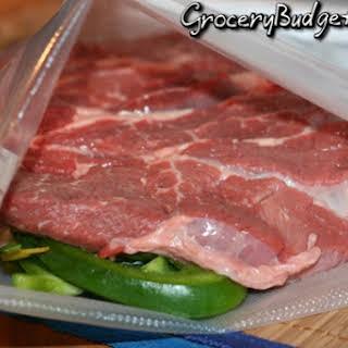 Italian Dijon Marinated Pepper Steak.