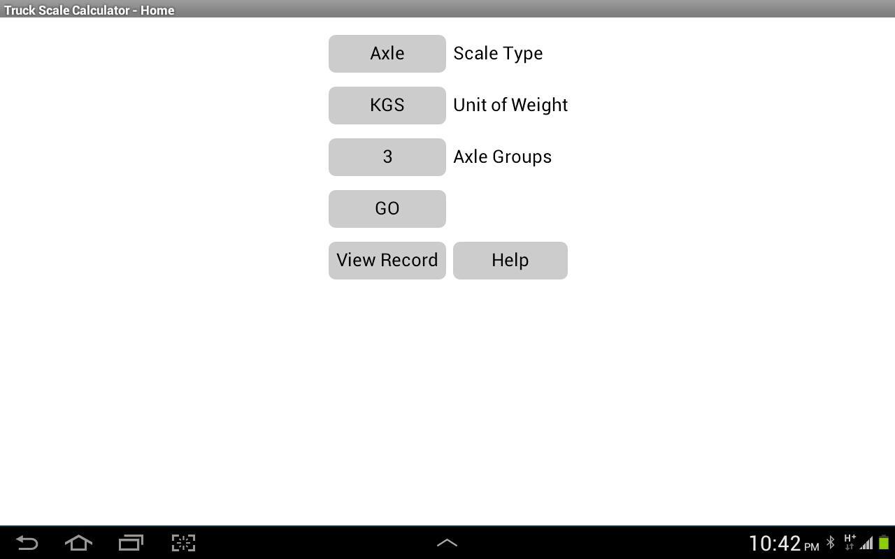 Truck scale calculator screenshot