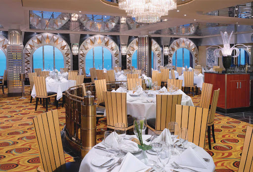 Norwegian-Pride-Of-America-Dining-Skyline -  Experience Manhattan in the 1930s when you dine at Norwegian Cruise Line's Pride of America's Skyline Main Dining Room, decked out in art deco furnishings.