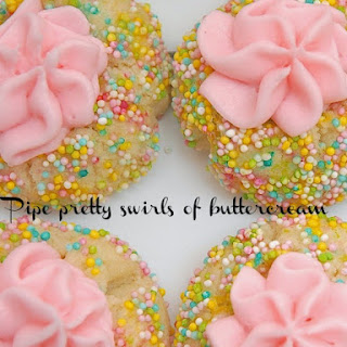 Thumbprint Cookies with Pink Marshmallow Fluff Buttercream