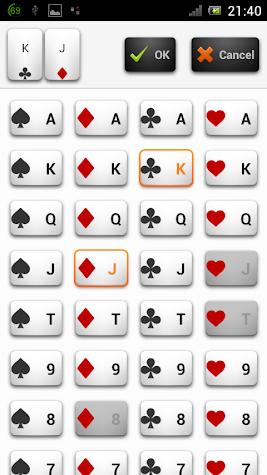 Poker Odds Range Calculator Screenshot