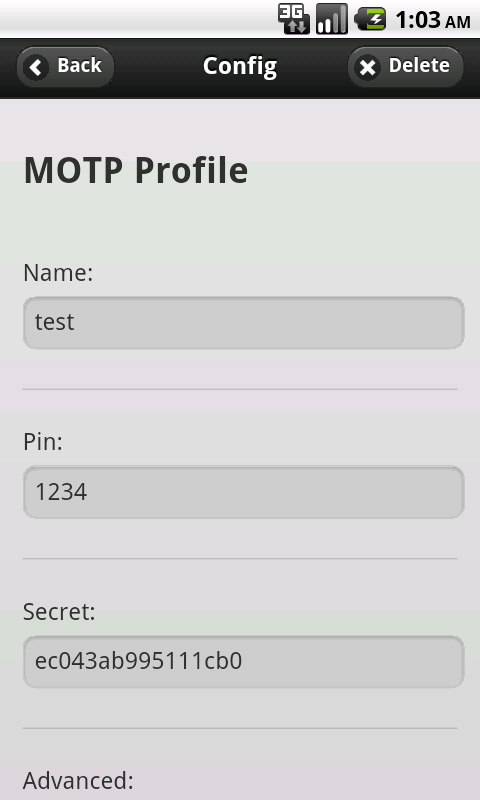 mOTP token- screenshot