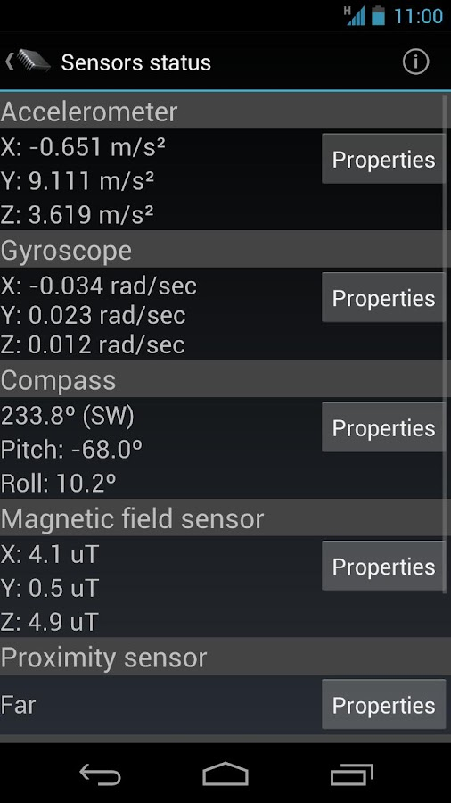 Phone Tester (sensors, GPS...) - screenshot