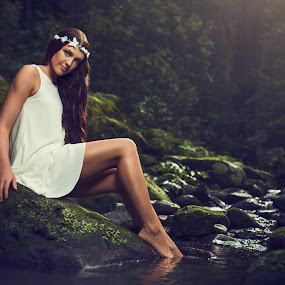 Lady of the forest  by Chris Gonzalez - People Portraits of Women ( water, model, moss, lady, forest,  )