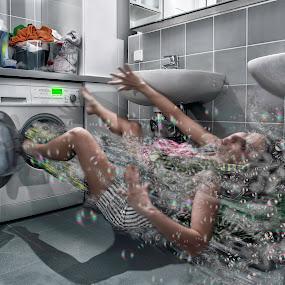Power Washing Machine by Ingrid Krammer - Digital Art People ( water, wash, detergent, ingridworks, machine, surreal, bathroom,  )
