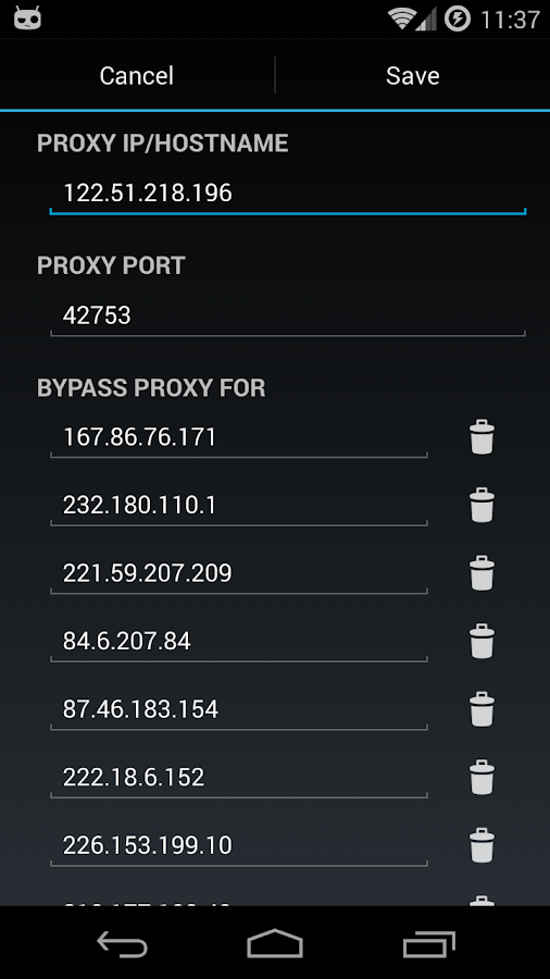 Proxy Settings - screenshot