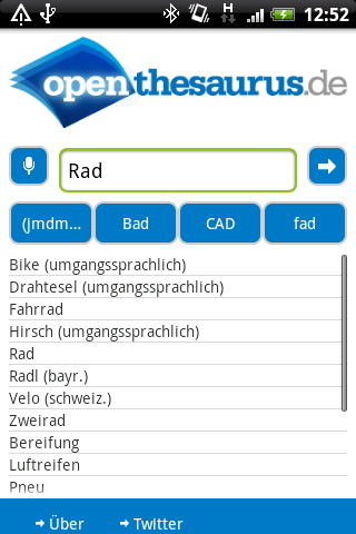 OpenThesaurus.de - screenshot