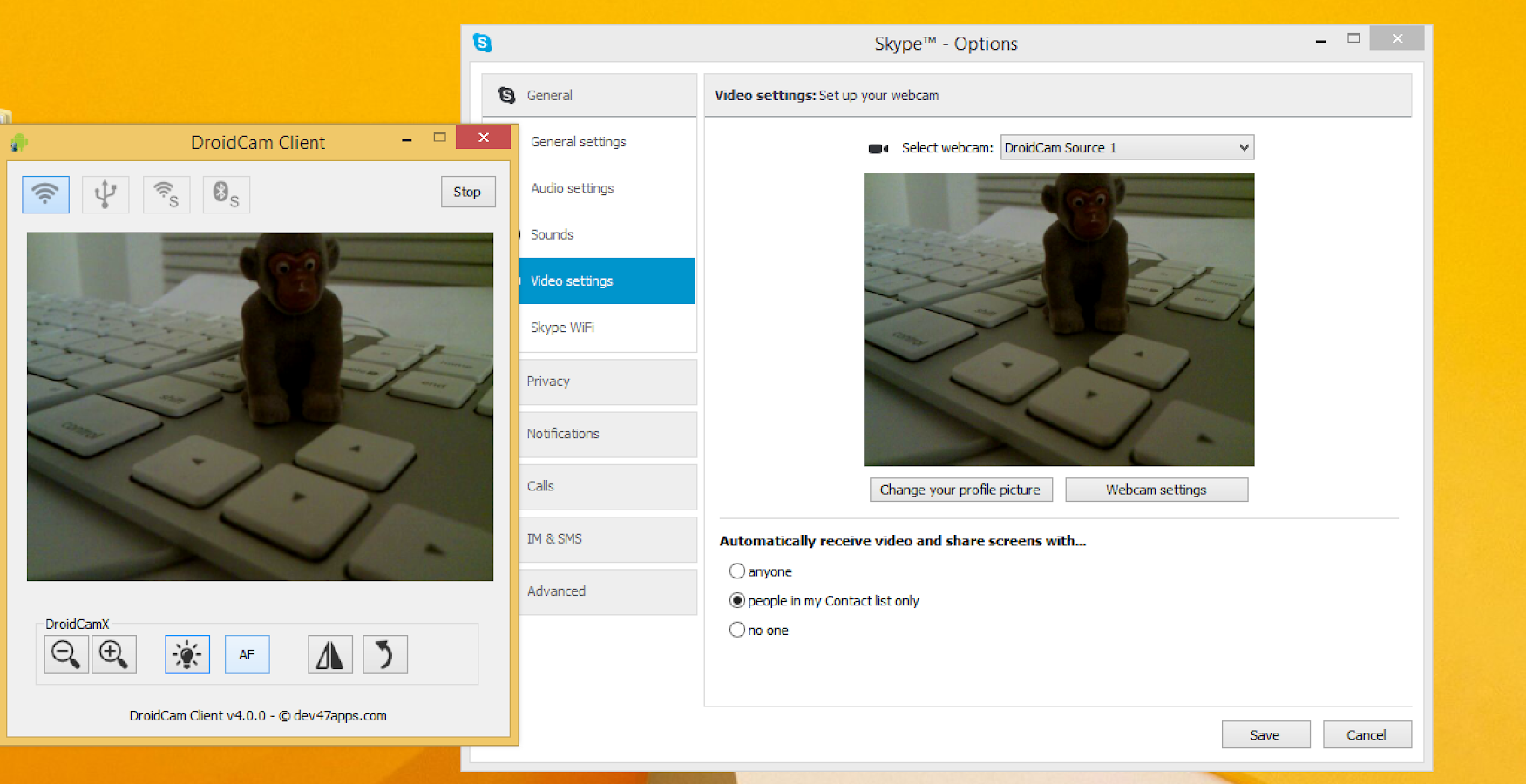 DroidCamX Wireless Webcam Pro - screenshot