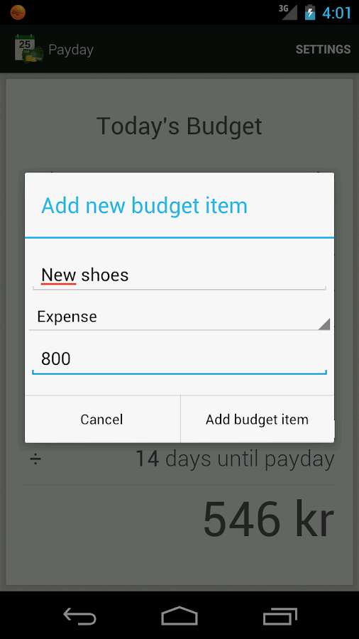 Payday - Today's budget - screenshot