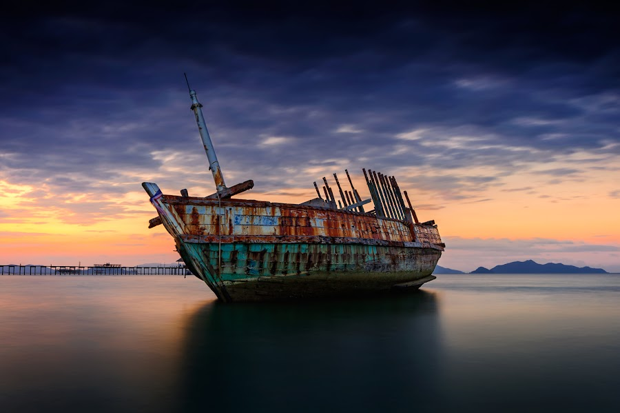 Colorful of someday by Pick Chon - Landscapes Waterscapes ( wreck, ship, sea, beach, boat,  )