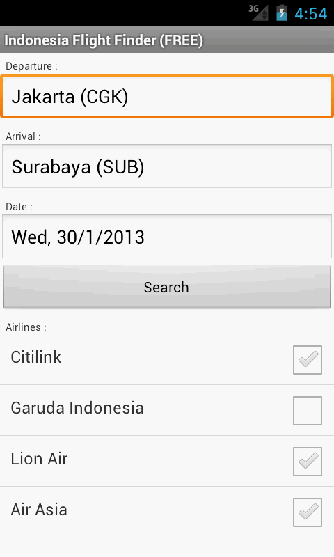Indonesia Flight Finder - screenshot