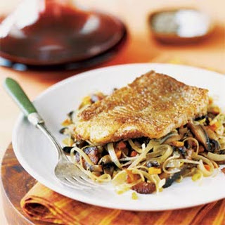 Pan-Roasted Fish on Mushroom-Leek Ragout