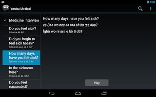 Screenshot of Yoruba Medical Phrases