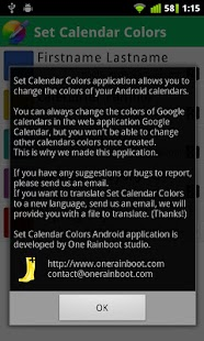 Set Calendar Colors - screenshot thumbnail