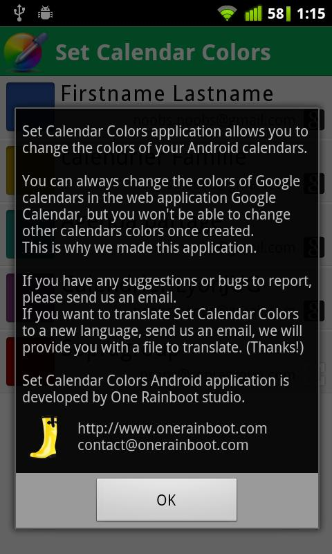 Set Calendar Colors - screenshot