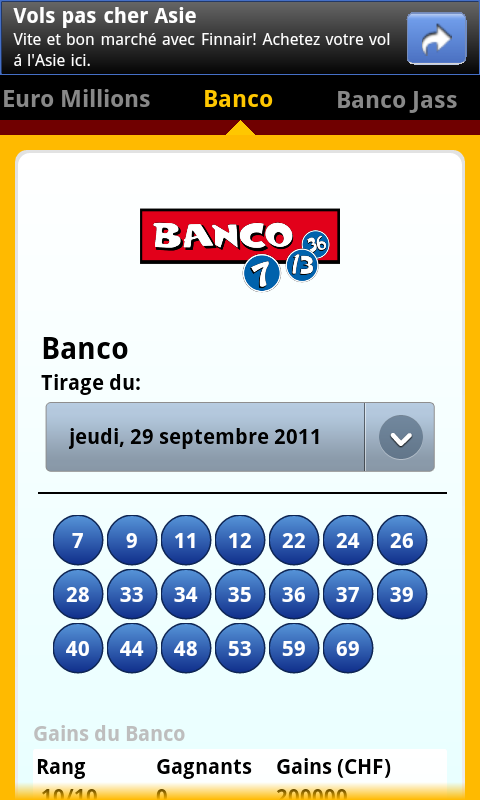 SwissLotto (Switzerland Lotto)- screenshot