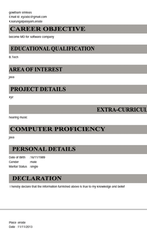auto resume generator screenshot
