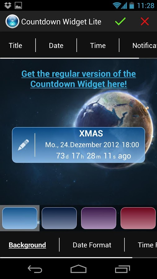 Countdown Widget Lite - screenshot