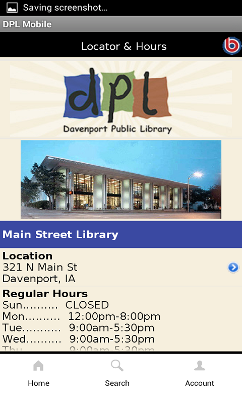Davenport Public Library- screenshot