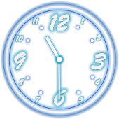Analog Clock Neon Transparent
